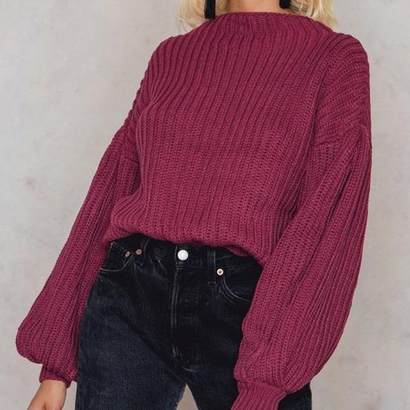 0d4074693f1687 Balloon Sleeve Knitted Sweater - NA-KD Fashion. M_5a59c48e8af1c50ae5a209a1